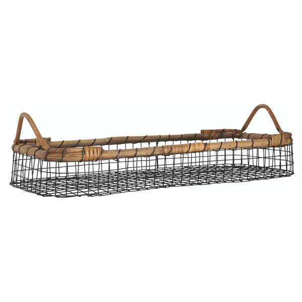 Hagen Wire & Bamboo Oblong Basket