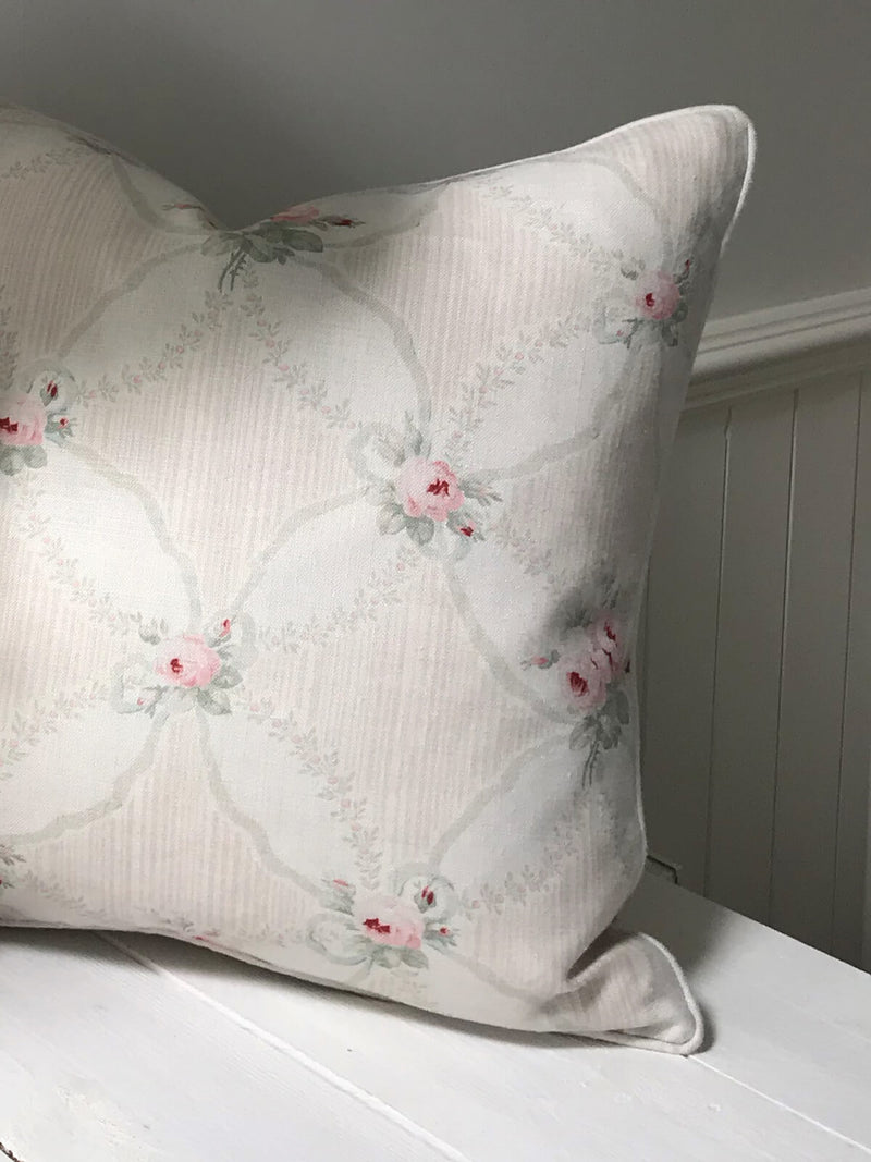 Peony & Sage 'Roses and Ribbons' Cushion