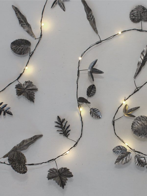 Silver Metal Leaf Fairy Lights