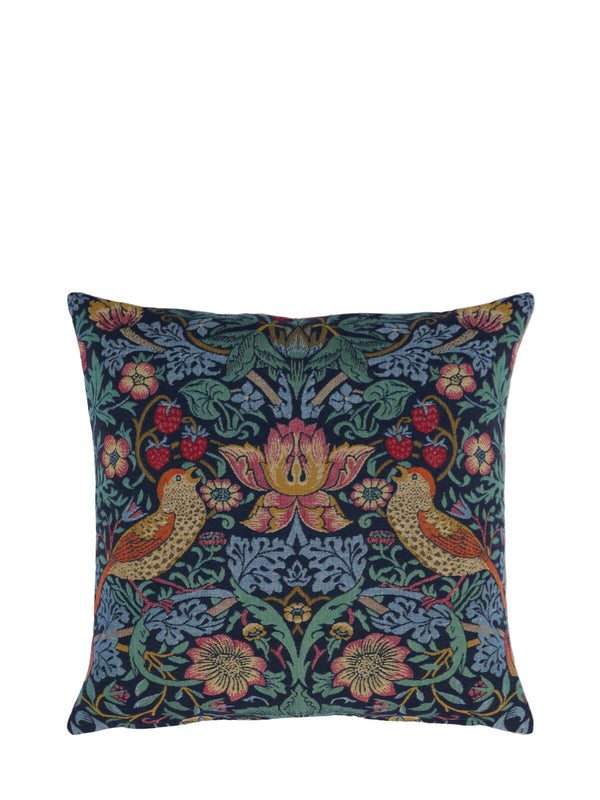 William Morris Strawberry Thief Brown Birds Tapestry Cushion