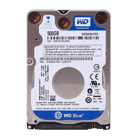 "Western Digital WD5000LPVX 500 GB 5400 RPM 2.5"" Laptop Hard Drive"