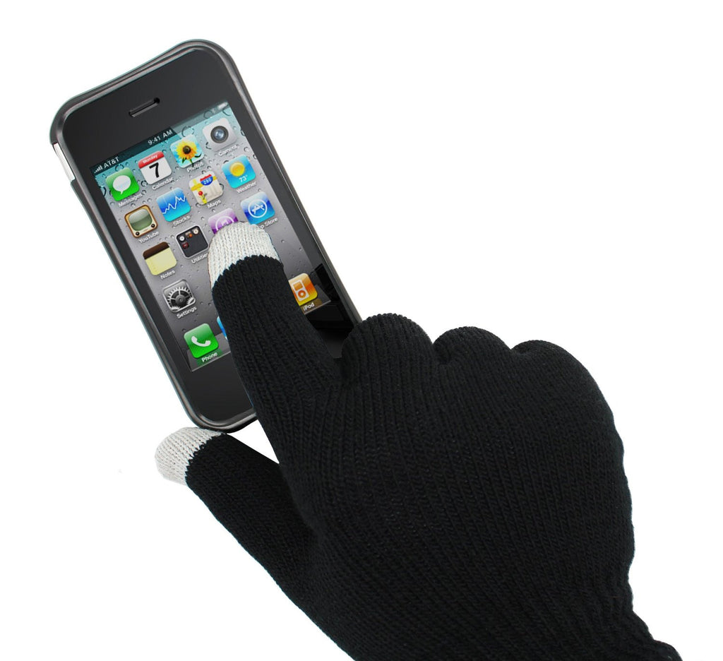 Aduro Capacitive Smart Touchscreen Gloves for iPhone, iPad, Android (Black)