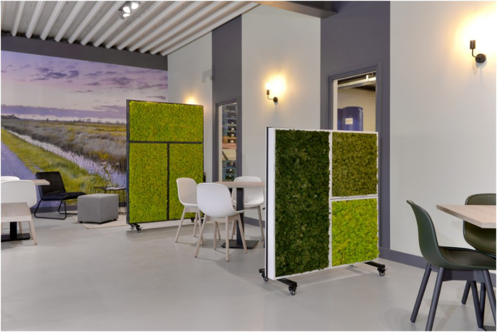 Movable moss wall room dividers, with inter changeable panels.