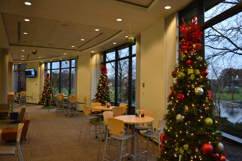Holiday trees in a corporate office