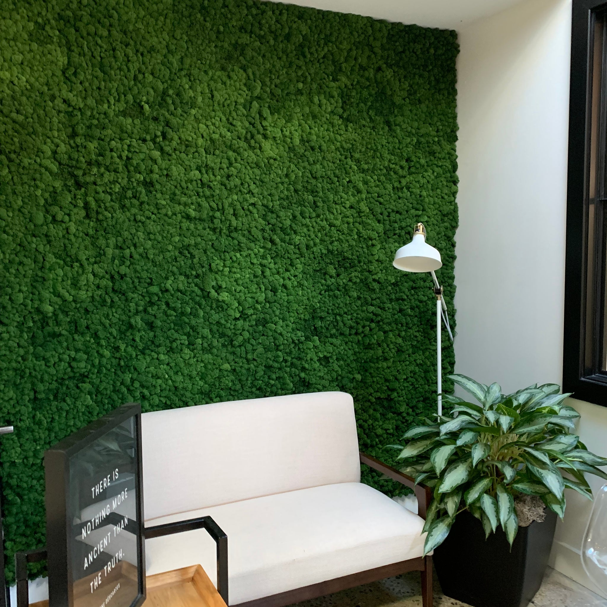 Large floor to ceiling moss wall providing acoustic sound absorption. Moss art by oakland green interiors. in a commercial office