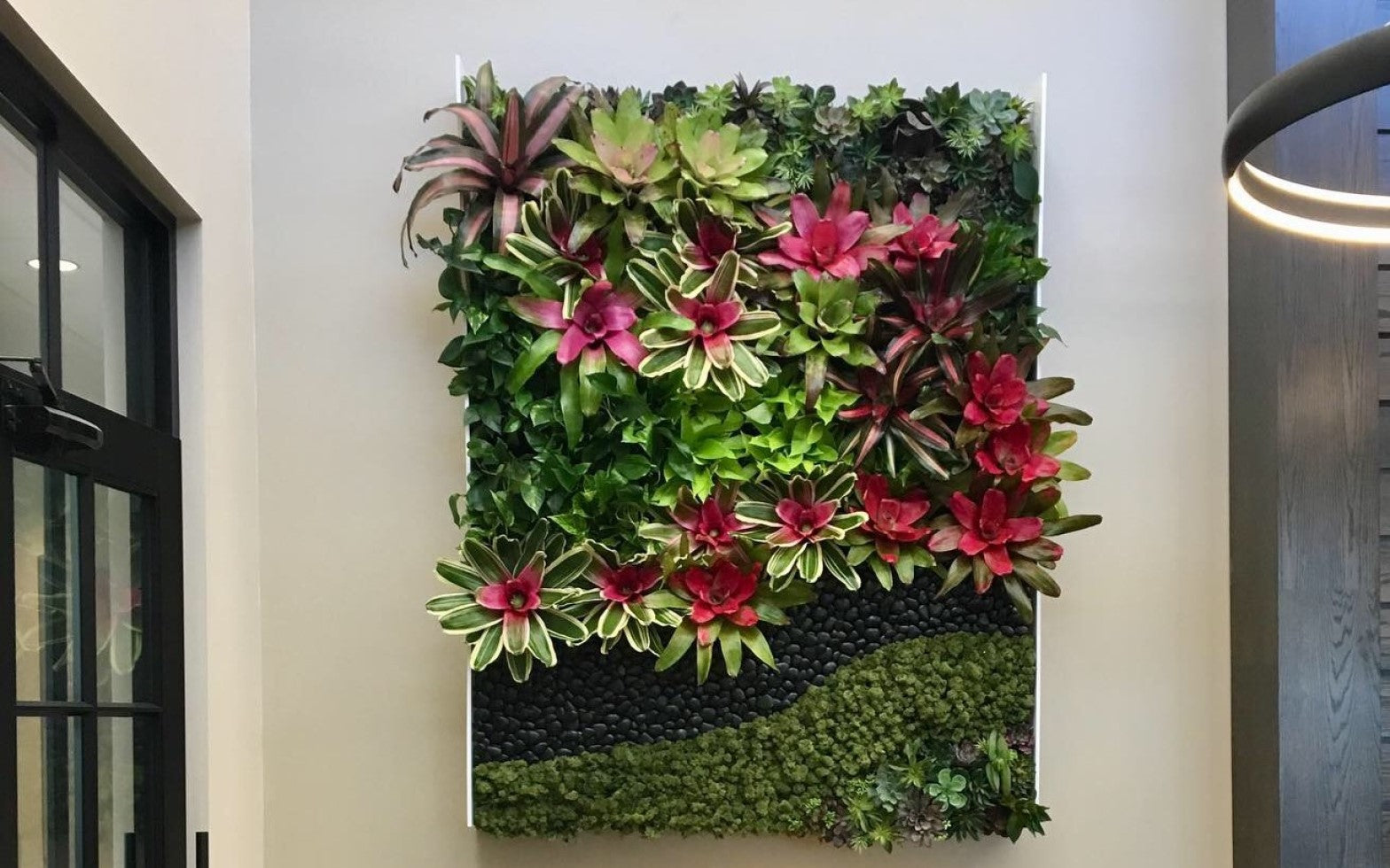 A living plant wall comprised of pothos, bromeliads, moss, faux succulents, and river rock. ,