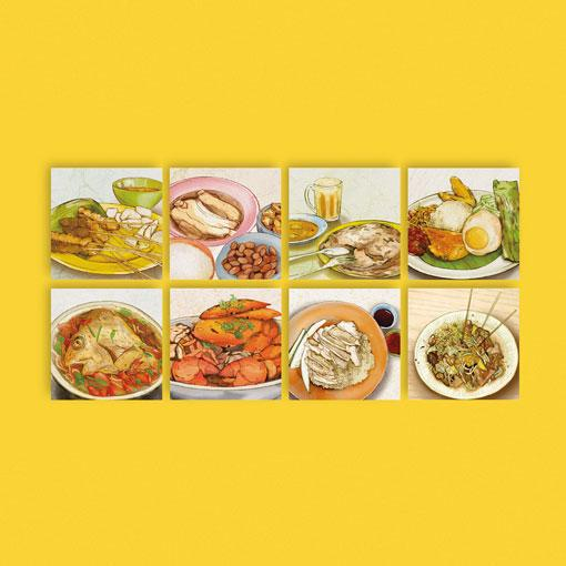 LOCAL DELIGHTS POSTCARDS (SET OF 8) -  MESSYMSXI - Singapulah-sg