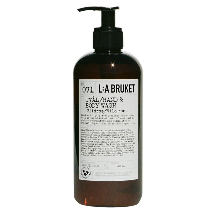 L:A Bruket - 071  Liquid Soap Wild Rose - escentials.com