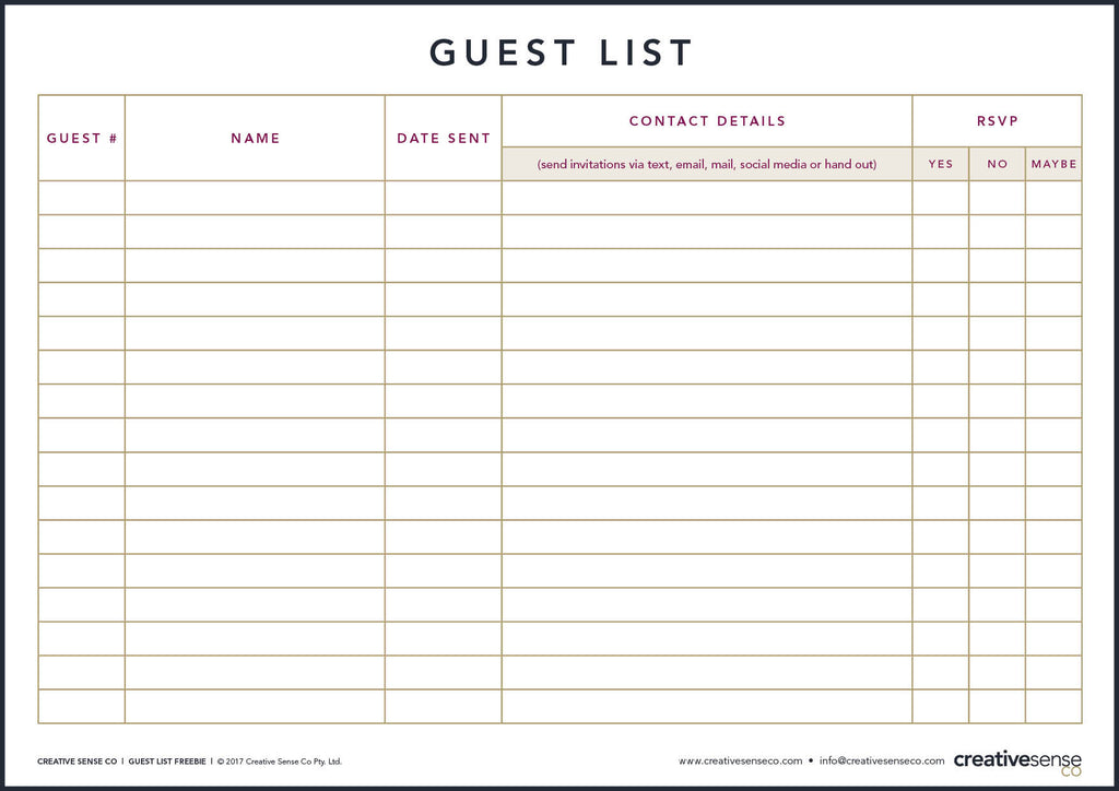 free guest list template - Romeo.landinez.co