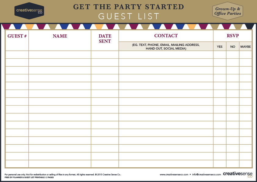 Hosting a Party Grab your FREE Party Planner and Guest List – Party Guest List Template