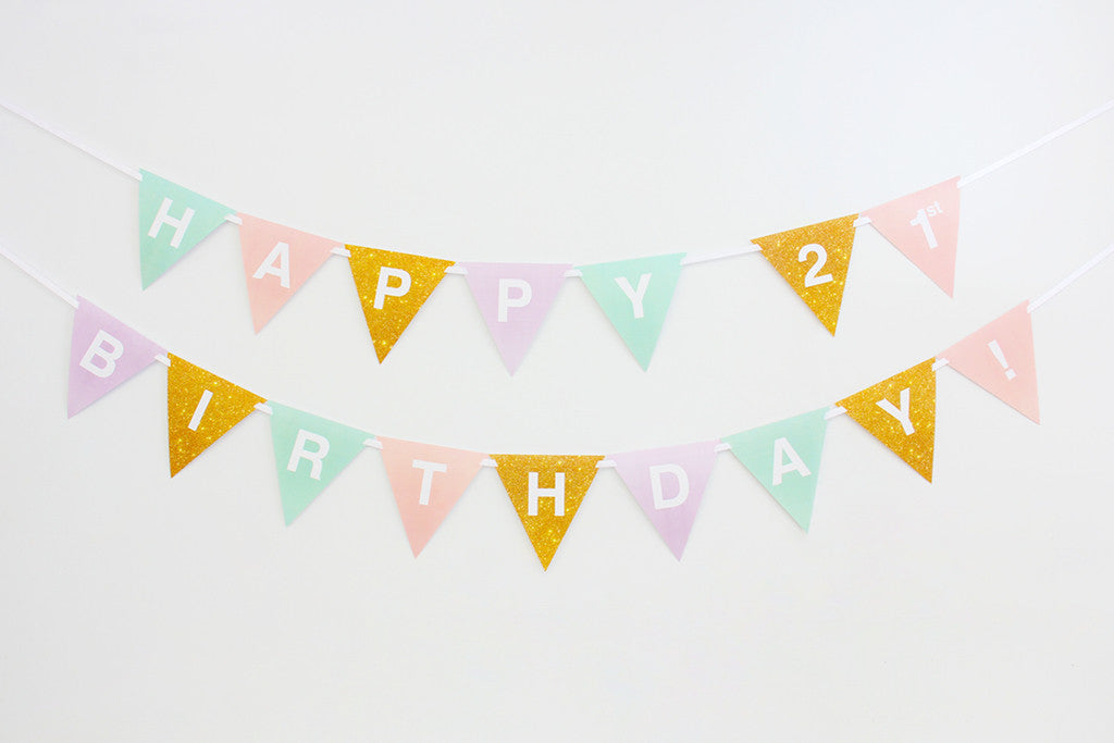 Printable Birthday Banner ~ 21st birthday buntings 21st birthday banner pastel and gold