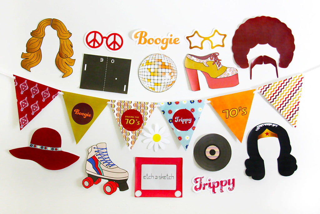 70s Party Printable Photo Booth Props INSTANT DOWNLOAD