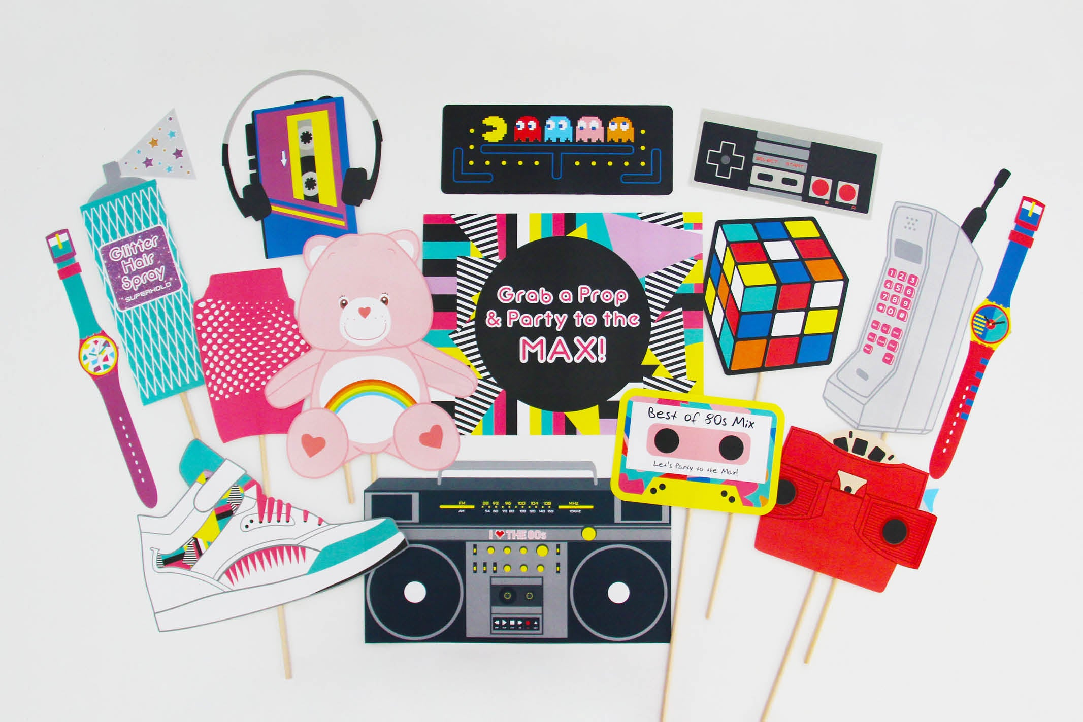 80s party printable 80s photo booth props instant for 80s decoration party