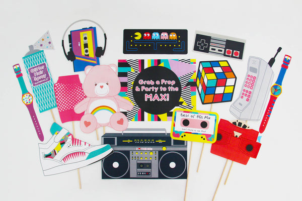80s party printable 80s photo booth props instant for 90 s decoration ideas