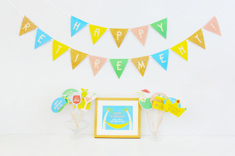 office party decorations. Happy Retirement Party Printable, Photo Booth Props | INSTANT DOWNLOAD Office Decorations E