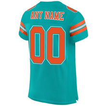Load image into Gallery viewer, Custom Aqua Orange-White Mesh Authentic Football Jersey