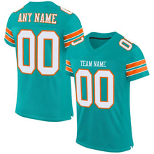 Load image into Gallery viewer, Custom Aqua White-Orange Mesh Authentic Football Jersey