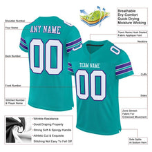 Load image into Gallery viewer, Custom Aqua White-Purple Mesh Authentic Football Jersey