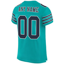 Load image into Gallery viewer, Custom Aqua Navy-White Mesh Authentic Football Jersey
