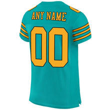 Load image into Gallery viewer, Custom Aqua Gold-Black Mesh Authentic Football Jersey