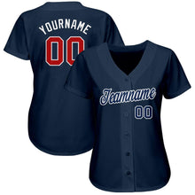 Load image into Gallery viewer, Custom Navy Red-White Baseball Jersey