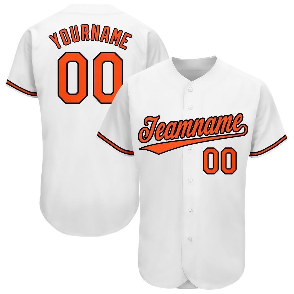 Custom White Orange-Black Baseball Jersey