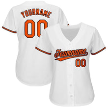 Load image into Gallery viewer, Custom White Orange-Black Baseball Jersey