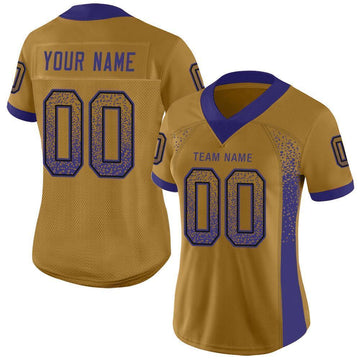 Custom Old Gold Purple-Black Mesh Drift Fashion Football Jersey