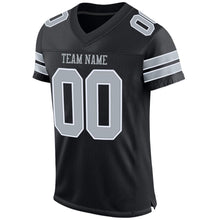 Load image into Gallery viewer, Custom Black Silver-White Mesh Authentic Football Jersey