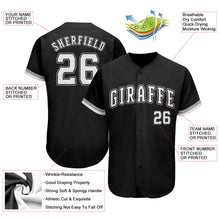 Load image into Gallery viewer, Custom Black White-Gray Authentic Baseball Jersey