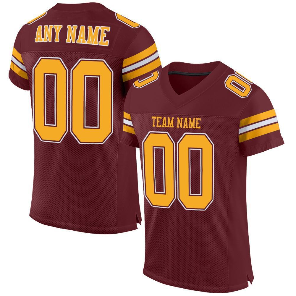 Custom Burgundy Gold-White Mesh Authentic Football Jersey