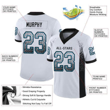 Load image into Gallery viewer, Custom White Black-Panther Blue Mesh Drift Fashion Football Jersey