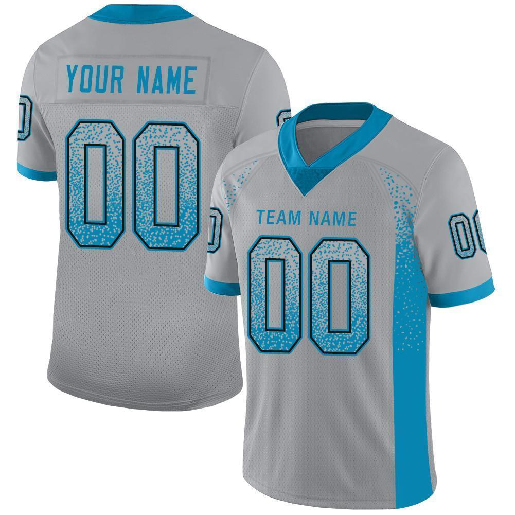 Custom Light Gray Panther Blue-Black Mesh Drift Fashion Football Jersey