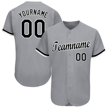 Custom Gray Black-White Baseball Jersey