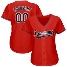 Load image into Gallery viewer, Custom Red Navy-White Baseball Jersey