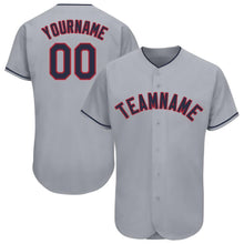 Load image into Gallery viewer, Custom Gray Navy-Red Baseball Jersey
