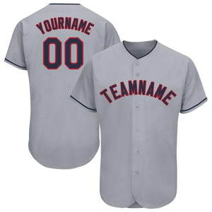 Custom Gray Navy-Red Baseball Jersey
