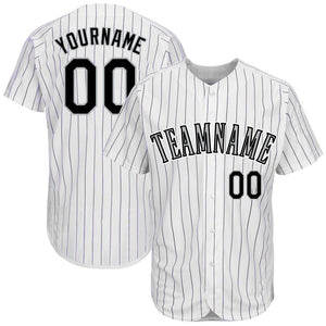 Custom White Purple Strip Black-Gray Baseball Jersey