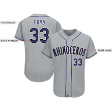 Load image into Gallery viewer, Custom Gray Purple-Black Baseball Jersey
