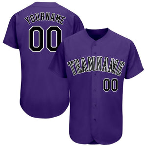 Custom Purple Black-White Baseball Jersey