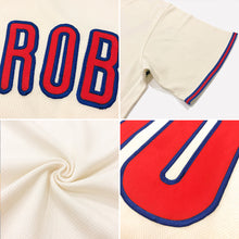Load image into Gallery viewer, Custom Cream Red-Navy Authentic Throwback Rib-Knit Baseball Jersey Shirt