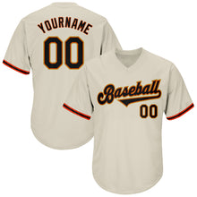 Load image into Gallery viewer, Custom Cream Black-Orange Authentic Throwback Rib-Knit Baseball Jersey Shirt