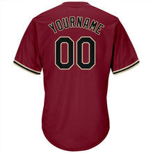 Load image into Gallery viewer, Custom Crimson Black-Khaki Authentic Throwback Rib-Knit Baseball Jersey Shirt