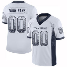 Load image into Gallery viewer, Custom White Navy-Gray Mesh Drift Fashion Football Jersey