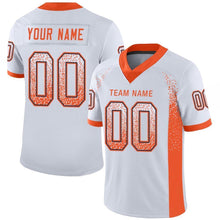 Load image into Gallery viewer, Custom White Orange-Navy Mesh Drift Fashion Football Jersey