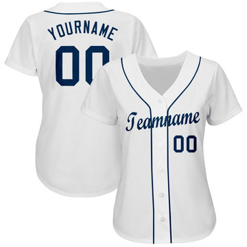 Custom White Navy Baseball Jersey