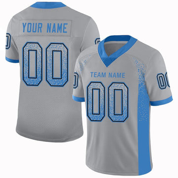Custom Light Gray Powder Blue-Black Mesh Drift Fashion Football Jersey
