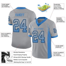 Load image into Gallery viewer, Custom Light Gray Powder Blue-Black Mesh Drift Fashion Football Jersey