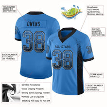 Load image into Gallery viewer, Custom Powder Blue Black-Gray Mesh Drift Fashion Football Jersey