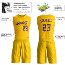 Load image into Gallery viewer, Custom Gold Purple Round Neck Suit Basketball Jersey